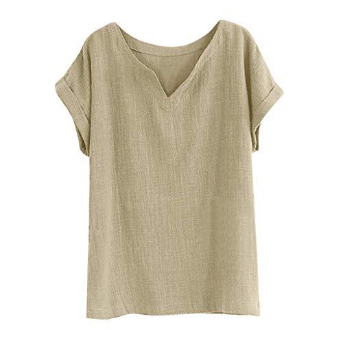 Vimoli Damen Langarmshirt V-Ausschnitt Longsleeve Baumwolle und Leinen T-Shirt Langarm Freizeit Oberteil Elegantes Shirt Basic Tops(Beige,2XL)
