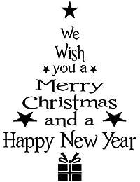 Fossrn Letra del árbol de Navidad Pegatinas Pared Vinilo Frases Autoadhesivo Papel Pintado Decoración