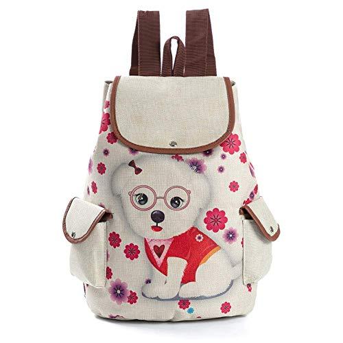 VektenxiMädchen Kinder Rucksack Welpen Reisetasche Multi-Compartment Kleinkind Kinder Schultasche Kinder Rucksack Bookbag Reisetasche Creme Weiß Cartoon Print Hohe Qualität -
