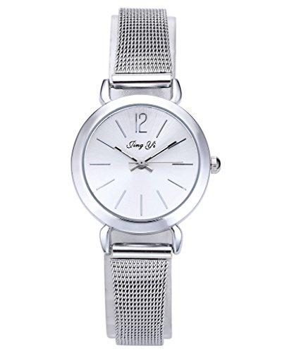 JSDDE Uhren,Einfach Elegante Damen Armbanduhr XS Slim Uhren Mesh Metallarmband Analog Quarz Uhr,Silber