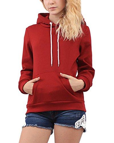 Minetom Femme Manches Longues Automne Hiver Sweats à capuche Décontractée Pur Hooded Sweatshirt Hoodies Tops Rouge