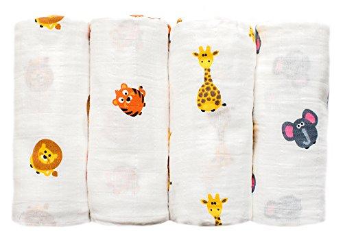 Gris abeja 4 unidades tamaño grande orgánica muselina bebé de paños, algodón suave blankets- Animal Tema Nursery marrón brown- jungle animals