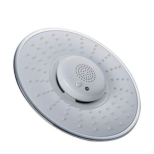 HUIJIN1 Duschkopf, runder ABS-Spitzenregen-Duschkopf, Bluetooth-Musik-Telefon-wasserdichter Sprecher-Duschkopf für Haus, Chrom-Ende,White (Sprecher Haus)