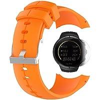 SUUNTO SPARTAN Ultra /HR Band con protector de pantalla, TUSITA Sustitución de pulsera de silicona WristBand para SUUNTO Watch (NARANJA)