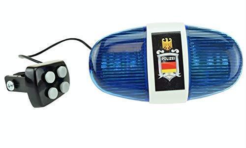 xtrafast Polizei Sirene mit 6 LED Blinklicht und 4 Tönen - Fahrrad Sirene