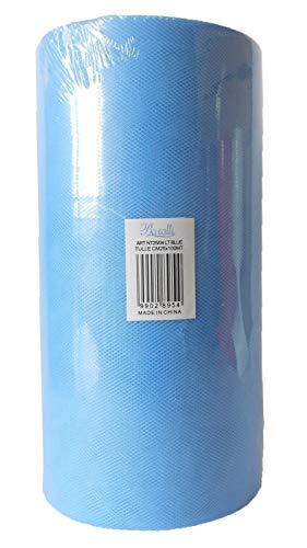 Rouleau de 100 mètres de tulle de 25 cm de largeur - blanc, rouge, bleu ciel, rose ou turquoise bleu ciel