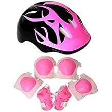 Rodilla Pads-Set de 7piezas codo muñeca rodilleras y casco deporte equipo de protección Guardia de seguridad para niños Skate patinaje ciclismo equitación bastón, rosa
