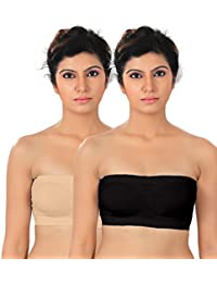 Fabme Women's Non-Padded, Non-Wired Seamless Tube Bra (Free Size) ( Pack of 2) (B, Skin Black)