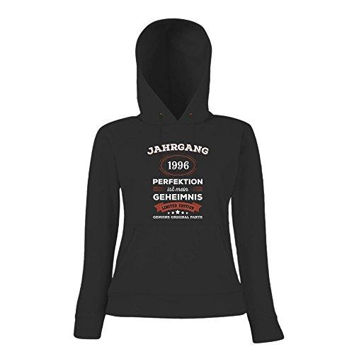 Jahrgang 1996 Hoody | Geburtstags-Hoody | Perfektion ist mein Geheimnis | 21. Geburtstag | Frauen | Kapuzenpullover © Shirt Happenz Schwarz
