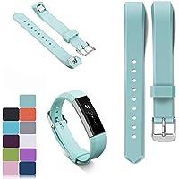 iFeeker - Correa para pulsera Fitbit Alta y Alta HR, incluye protectores HD, silicona suave, ajustable, con hebilla de metal, de diseño, 11colores diferentes, color blanco