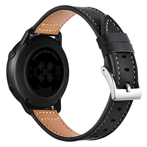 TianranRT Silber Schnalle Leder ArmbandWatch Handgelenk Trageriemen Band Für Samsung ArmbandWatch aktiv 20mm (Schwarz) -