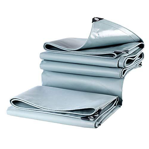 LSXIAO Persenning Gewicht 100% Wasserdicht Brandschutz Anti-UV-Leinwand Verzinkte Knopfschutz Boot, Auto, Brennholz, Dach, 16 Größen (Color : Gray, Size : 3.8x3.8m) -