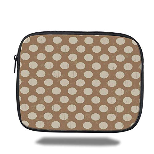 Tablet Bag for Ipad air 2/3/4/mini 9.7 inch,Tan,Big Polka Dots on Grunge Backdrop Off White Shabby Simple Old Fashioned Distressed Retro,Tan Cream,Bag - Distressed Cream