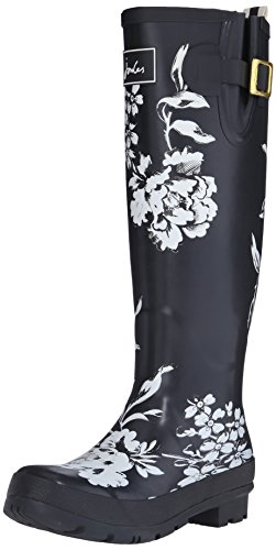 Joules U_wellyprint, Bottes femme Noir - Black (BLACK FLORAL)