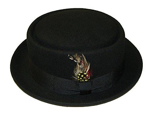 Wollhut/Filzhut, Unisex, faltbar,Pork Pie/Trilby, mit abnehmbarer Feder und passendem Band, 100%Wolle, von Hand gefertigt, schwarz - schwarz - Größe: M  (Hut Feder Mit)
