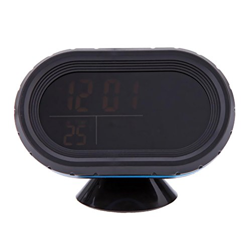 Baoblaze LCD Auto Digital Innen Außen Thermometer Spannungstester Spannungsmesser KFZ PKW Datum Uhr - Orange+Blau