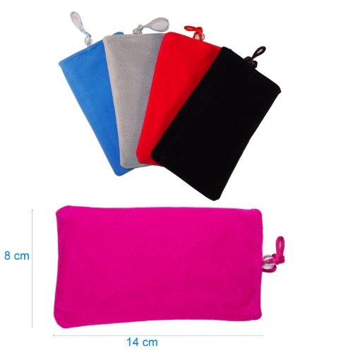 smartec24® Universal Komfortsocke in pink. Komfort Tasche 8cm breit x 14cm hoch, passend für iPhone 4 / 4S, iPhone 5, Samsung Galaxy S2, HTC, Nokia, LG mit den selben Abmessungen. Mit weicher Komfort-Innenvliesversteppung für optimalen und umfassenden Schutz!