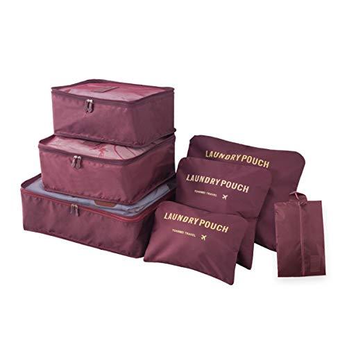 Organizador de Equipaje de Viaje, 7 Piezas Impermeables Cubos de lavandería Bolsas de compresión Bolsas Maleta Organizador de artículos de Aseo para Ropa, Zapatos, Ropa Interior, cosméticos, Libros