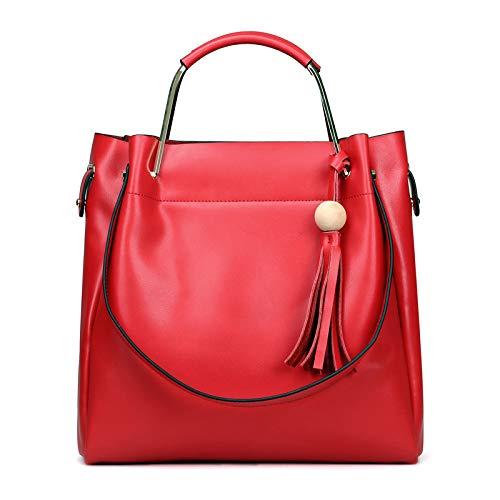 Womens Handtaschen Schultertasche Leder Top-Griff Damen Shopping Folding Tote Strand Reisetasche Mit Fächern,Red-M - Dell-kamera