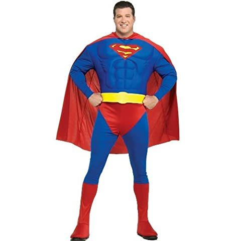 Rubies New Mens Deluxe Superman Muscle Chest Fancy Dress Costume Fuller Figure Outfit L