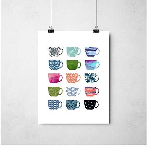 XIXISA Kaffee Kunst Multi Farbe Kaffeetassen Kunstdruck Cafe Küche Wandkunst Leinwand Malerei Bild Espresso Kaffee Poster Wand Decor 50 * 70 cm - Espresso Leinwand