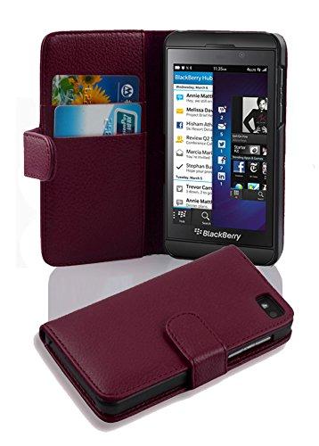 Cadorabo Hülle für Blackberry Z10 - Hülle in BORDEAUX LILA – Handyhülle mit Kartenfach aus struktriertem Kunstleder - Case Cover Schutzhülle Etui Tasche Book Klapp Style