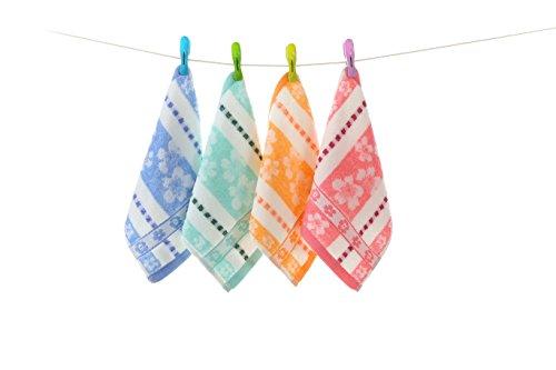 YSN Home Collection YSN13 - Waschlappen 4 STÜCK Gemischte Farben 100 % Baumwolle - 25x25 cm - Orange (Waschlappen Urlaub)