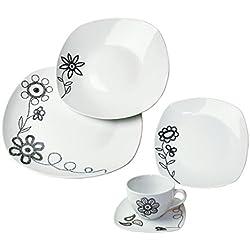ARTE VIVA 118603 - Juego de café y vajilla de porcelana PUNTO PIU, 30 piezas, cuadrado, color negro, design I love