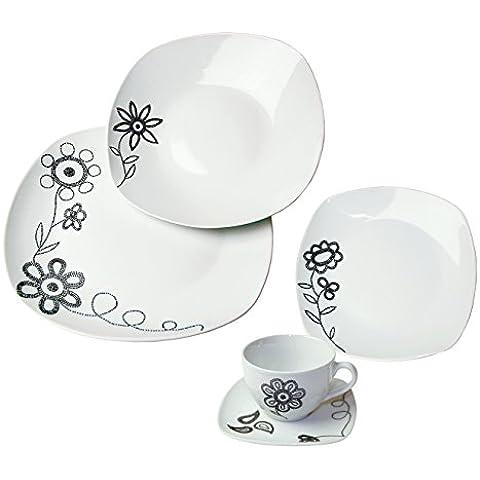 ARTE VIVA 118603 - Juego de café y vajilla de porcelana PUNTO PIU, 30 piezas, cuadrado, color negro, design I