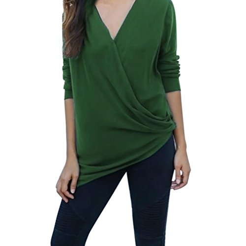 GreatestPAK_Vêtements Femme T-Shirt, Automne Casual Cross V-Neck manches longues Solid Blouse Pull Tops Vert