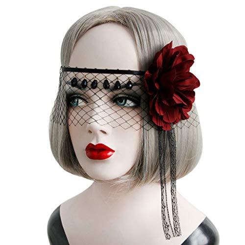 (Fafalloagrron Damen Spitzenmaske mit Schleier, halbes Gesicht, Vintage, Halloween, Party, Cosplay, Kopfschmuck)