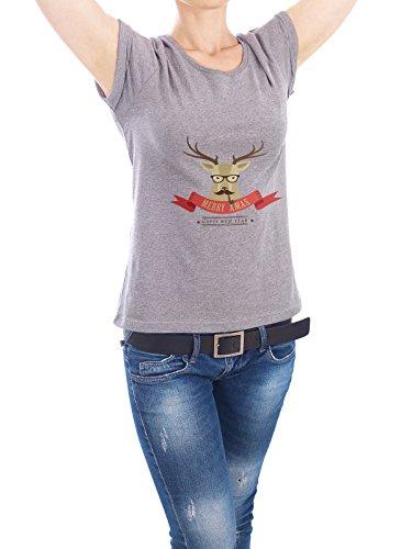 """Design T-Shirt Frauen Earth Positive """"Hipster Hirsch"""" - stylisches Shirt Tiere Weihnachten von artboxONE Edition Grau"""