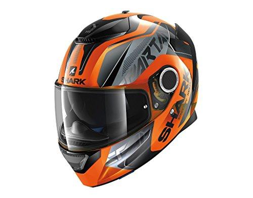Shark casco integral Spartan karken Hi-Vis, Negro y naranja, talla M