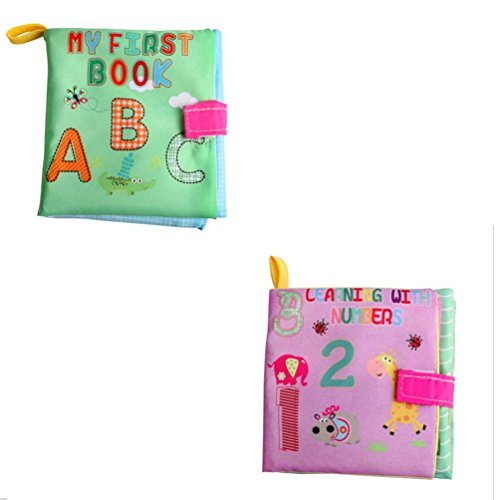 Baby Tuch Buch Lovely Animal Puzzle, Stillshine - Tuch Buch Baby Spielzeug Tuch Entwicklung Bücher Baby Early Brain Development (Stil 1(2PCS))