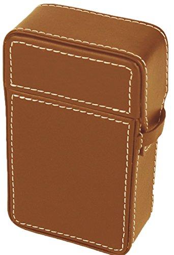 Hochwertiges in Handarbeit gefertigtes Luxus Zigarettenetui aus feinstem Top Grade Rindsleder mit Kontrastnähten (braun)