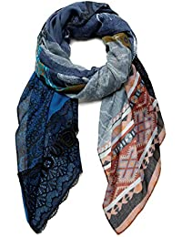Desigual Foul_Patch Night Bright Bufanda de moda, Blue, U para Mujer