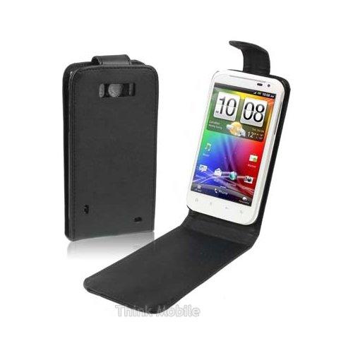 Nuova Custodia a portafoglio in pelle a portafoglio per Smartphone HTC Wildfire Serie, Ecopelle, Black Flip with Black Stitch, HTC Sensation XL
