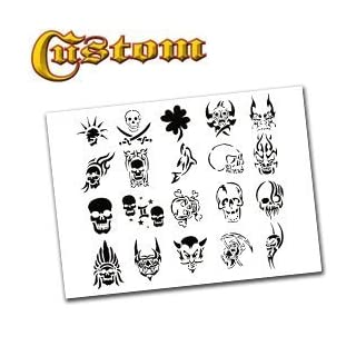 Airbrush Tattoo Stencil Set 60 Book of 20 Skull Templates by AirBrush-Depot.com