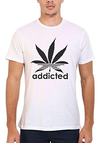Addicted Cannabis Funky Cool Funny Men Women Damen Herren Unisex Top T Shirt .Weiß