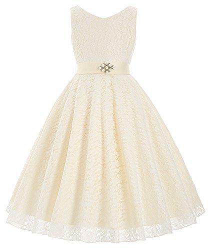 Elegant blumenmaedchen kleid Brautjungfern Anlaesse Festzug Partei Kleid 11-12 (Elf Kleider)