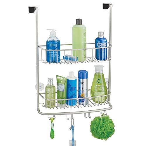 mDesign Duschkorb zum Hängen über die Duschtür - stilvolle Duschablage ohne Bohren - Duschregal aus Metall mit zwei Ebenen und vier Doppelhaken für allerlei Duschzubehör - mattsilberfarben