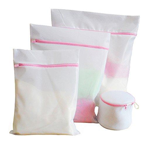 Persönliche Schließfächer (Wäschebeutel, Wiederverwendbare Netzbeutel für Wäsche mit Reißvverschluss Ideal für BH Wäschebeutel Waschmaschine Wäschesäcke mit Reißverschluss(4er Set))