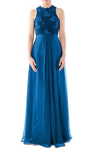 MACloth Women High Neck Long Lace Chiffon Bridesmaid Dress Formal Evening Gown Blau