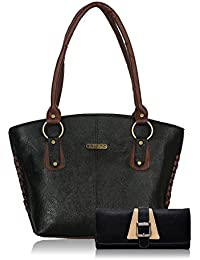 Fristo Women Handbag And Wallet Combo(FRWC-074)Black And Brown