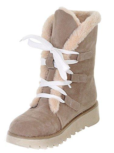 Minetom Donne Inverno Piatto Caviglia Stivali Faux Pelle Caldo Pelliccia La Neve Stivali Lace-Up Scarpe Beige EU 39