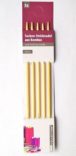 Bambus-Stricknadeln / Socken- bzw. Strumpfstricknadeln - 5 Stück - Ø 3 mm, 20 cm lang