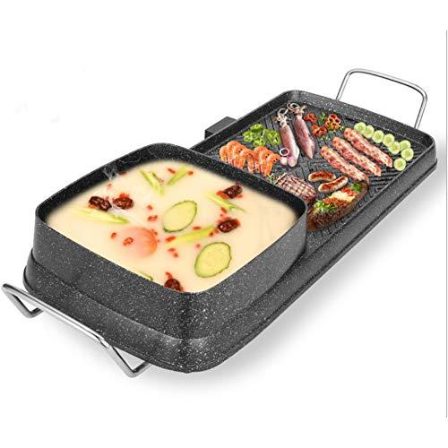 Eléctrico Sin humo Parrilla para interiores Utensilios de cocina de olla caliente multifunción Wok saludable,2