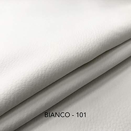 Tessuto Ecopelle morbida finta pelle a METRAGGIO a partire da 50 CM (Lunghezza) x 140 CM (Larghezza FISSA) - per arredo DIVANI, SEDIE (1/2 Metro, Bianco)