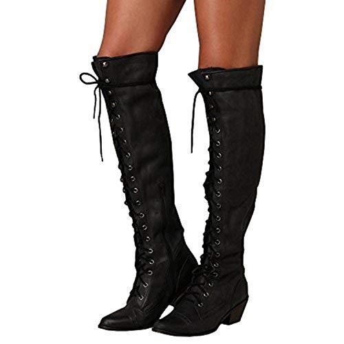 Swanbuy Damens Oberschenkel Kniehohe Stiefel Breites Kalbsleder Combat Schnürschuhe mit Absatz