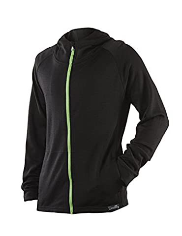 Woolly Clothing Co Men's Merino Wool Hoodie Small Black With Green Accent